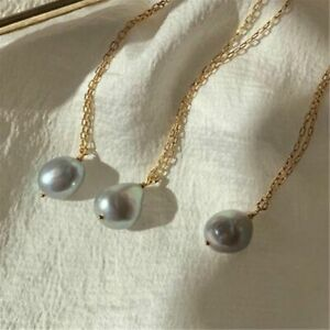 1PCS Fashion 11-12mm Gray Baroque Pearl Necklace 18 inches Women Wedding Chain