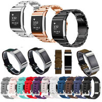 leather Silicone stainless Watch Band Strap Bracelet For Fitbit Charge 2