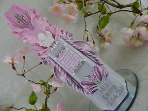 Taufkerze Kerze zur Taufe geschnitzt rosa mit Spruch Engel Taufkerzen Mädchen