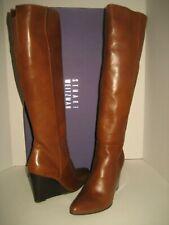 NEW Stuart Weitzman Vim Women US 6.5 Saddle Brown Knee-High Wedge Leather Boots