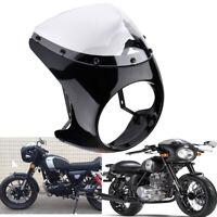 """UK Gloss Black 7"""" Headlight Fairing Retro Cafe Racer Handlebar & Windshield"""