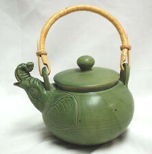 Elephant Artisan Crafted Ceramic Teapot with Lid and Rattan Handle Cute S8783