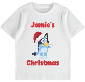Bluey Bingo Personalised Christmas Xmas name tshirt Babies Girls & Boys Toddlers
