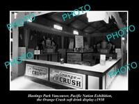OLD HISTORIC PHOTO OF HASTINGS PARK VANCOUVER, THE ORANGE CRUSH DISPLAY c1930
