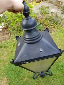 Black Vintage Victorian Garden Street Post Lantern Lamp Top Metal Glass Light