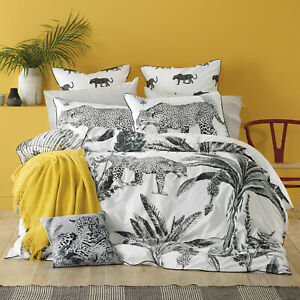 Bianca Leopard Grey Quilt Doona Cover set   Big Cats   Safari feel   Super King