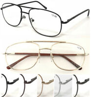 L130 Double Bridge Pilot Big Lens Reading Glasses/Spring Hinges/Long Arm Covered