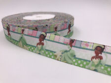 DIY 5 Yard 1''25mm Princess girl Printed Grosgrain Ribbon Hair Bow Sewing Ribbon