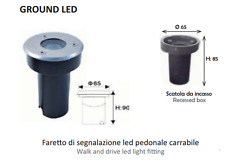 FARETTO SPOT LED INC PAVIM ESTERNO 12V 3W 30° IP67 CARRABILE LAMPO GROUNDLED BC