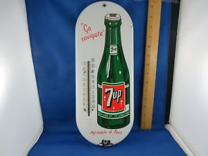 Vintage 1950's French Canadian 7up porcelain thermometer sign