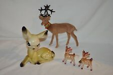 4 vintage Christmas reindeer Flocked Bambi Small Pair Spotted Fawns
