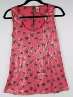 No Boundaries Sequin Star Print Top Pink  Women's Racerback Shirt Size L (11-13)
