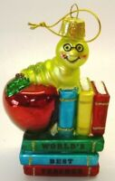 "Kurt Adler ""World's Best Teacher"" Christmas Ornament, Glass, Bookworm Ornament"
