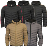 Mens Puffer Jacket Hooded Retro Red Blue Plain Quilted Padded Coat Brave Soul