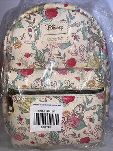 Loungefly Disney Belle Beauty & The Beast Mini Backpack Bag - New Flowers Chip