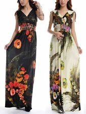 Unbranded V Neck Full Length Floral Dresses for Women