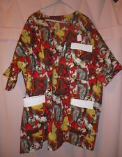 Crazy Horses on Red Scrubs Top with 3 Pockets for Size 3X  FSMTP40