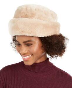 Nine West Cloche Hat Faux Fur Cuff Ivory Womens Fashion Cap Beige One Size NEW
