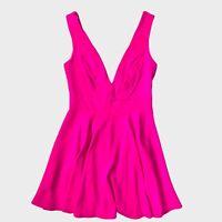 New Look Bright Hot Neon Pink Plunge Flippy Skater Mini Dress 8 - B69