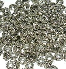 MB7165L2 Antiqued Silver 6mm Flower Design Rondelle Alloy Metal Beads 100/pkg