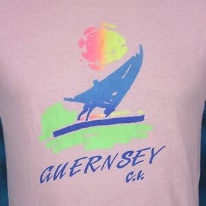 vintage 80s GUERNSEY CHANNEL ISLANDS PAPER THIN T-Shirt XS/S normandy beach surf