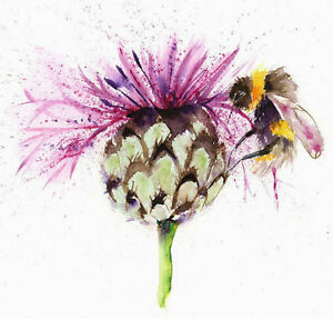 Limited Print of BEE and THISTLE original watercolour by HELEN APRIL ROSE   241