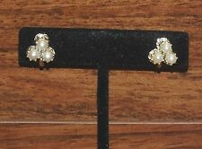 Vintage Style Silver Tone & 3 White Faux Pearl Screw Back Clip On Earrings *Read
