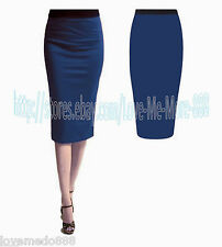 WOMENS Office Work Party Tunic Straight Pencil Below Knee Skirt Dress Blue 4XL