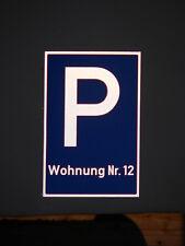 """Parkplatzschild Schild reflektierend 20x30 cm, Wunschtext """"Wohnung"""", Aluminium"""