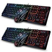 Gaming Keyboard Mouse Combo Set Rainbow LED Wired USB 2400 DPI Mice PC Laptop