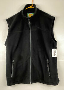 NWT Cabelas Mens black snake river fleece vest full zip  mock neck size XLT