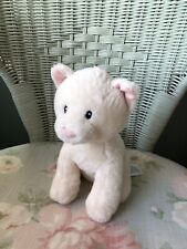 MOTHERCARE CREAM SITTING CAT KITTEN SOFT TOY COMFORTER DOUDOU PINK EARS NOSE