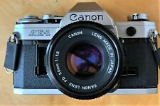 Vintage Canon Ae-1 Slr Film Camera Body With Fd 50mm Lens and Case Some Damage
