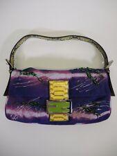 FENDI Ricama Purple Dyed Suede Snakeskin Trim Baguette Handbag Purse