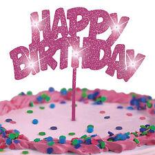 Cake Topper Pink Glitter HAPPY BIRTHDAY LED Flashing Decoration FREE SHIPPING!!