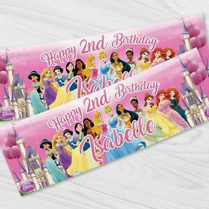 Personalised Disney Princess Birthday Party Banner - Children Party Banners x 2