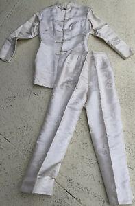 SHANGHAI TANG Designer Silk Trouser Suit Mandarin Oriental Ivory Sz S