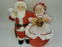 Santa & Mrs. Claus handmade Christmas holiday decor figure soft sculpture faces