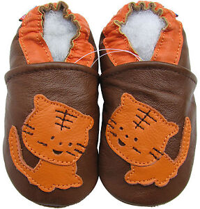 carozoo tiger brown 6-12m soft sole leather baby shoes
