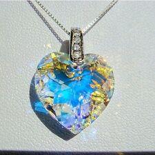 Sterling Silver CZ Swarovski Eleme Crystal Facet Heart Pendant Necklace Clear AB