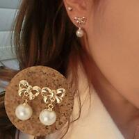 Women Rhinestone Lady Pearl Bowknot Earrings Ear Stud