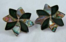Abalone Onyx Screw Back Earrings Vintage Signed Taxco Mexico Sterling Silver