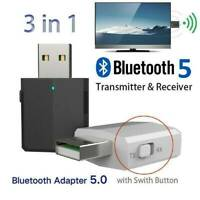 3in1 Bluetooth 5.0 USB Audio Transmitter Receiver Adapter Wireless for Car TV PC