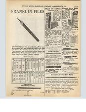 1927 PAPER AD Plumb Store Display All Work Saw File Box Franklin Files Tools