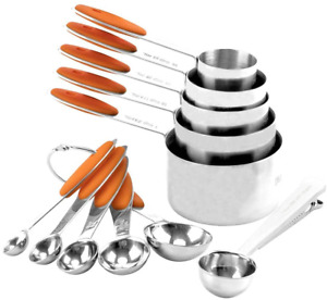 Stainless Steel Measuring Cups, cups and Spoons Set of 11 Orange