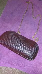Gorgeous Black Vintage Straw Witchery Purse w/- Brass Chain Link Shoulder Strap