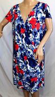AA Studio AA Women Plus Size 20W Blue Red White Floral Casual Work Dress