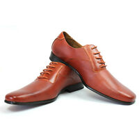 New Mens Ferro Aldo Cognac Herringbone Dress Shoes Leather Snipe Toe Oxfords NEW
