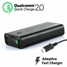 (Quick Charge 2.0) 5200mah Power Bank Dual USB 18W Adaptive Fast Samsung Note 5