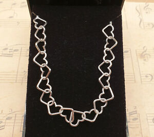 Vintage 925 Solid Sterling Silver Heart Chain Link Collar Necklace with Box